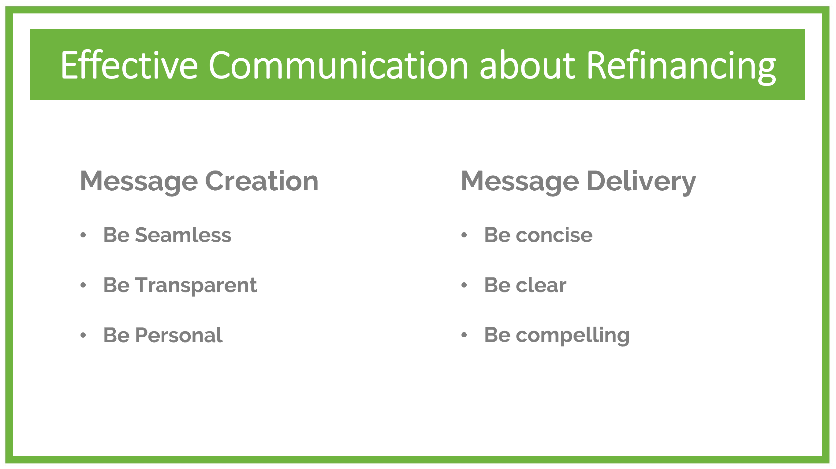Keys to Effective Communication about Refinancing